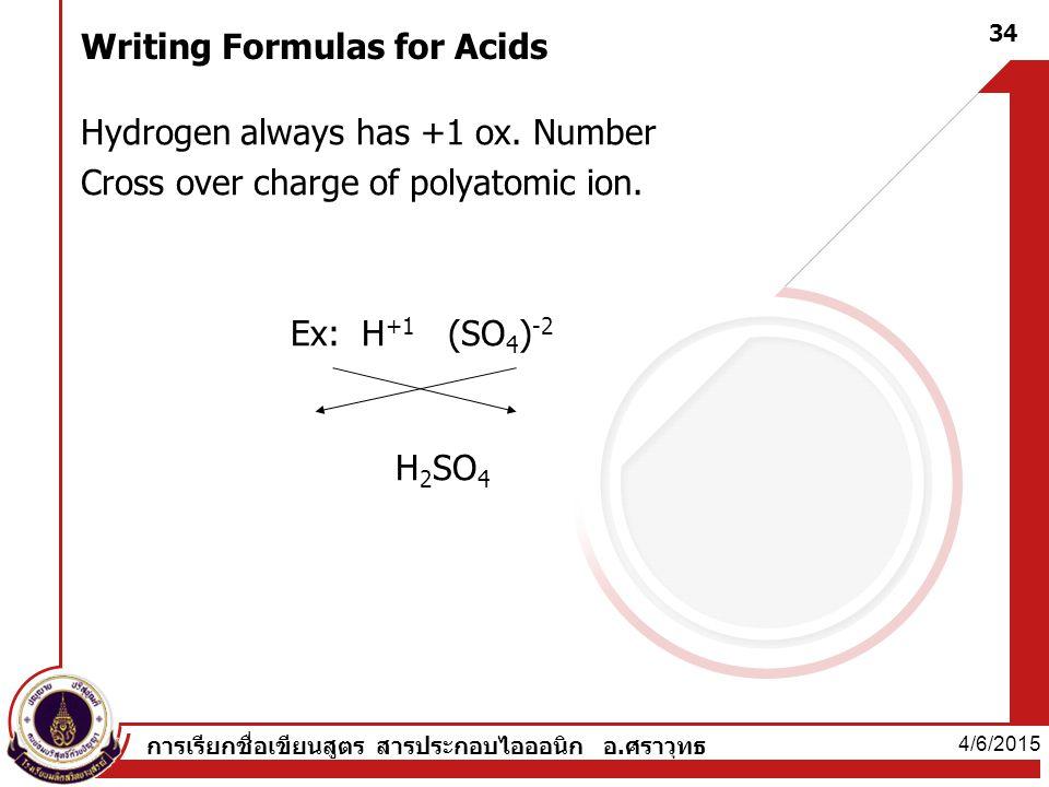 Writing Formulas for Acids Hydrogen always has +1 ox.