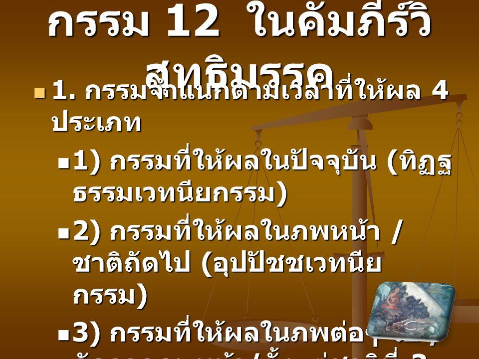 กรรม 12 ในคัมภีร์วิ สุทธิมรรค 1. กรรมจำแนกตามเวลาที่ให้ผล 4 ประเภท 1. กรรมจำแนกตามเวลาที่ให้ผล 4 ประเภท 1) กรรมที่ให้ผลในปัจจุบัน ( ทิฏฐ ธรรมเวทนียกรร