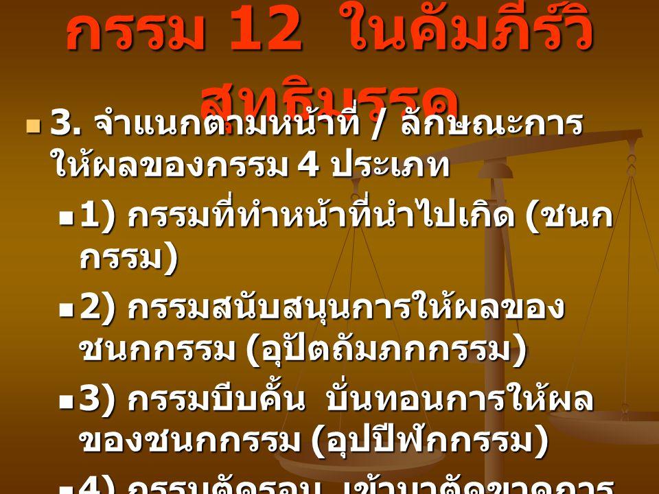 กรรม 12 ในคัมภีร์วิ สุทธิมรรค 3. จำแนกตามหน้าที่ / ลักษณะการ ให้ผลของกรรม 4 ประเภท 3. จำแนกตามหน้าที่ / ลักษณะการ ให้ผลของกรรม 4 ประเภท 1) กรรมที่ทำหน