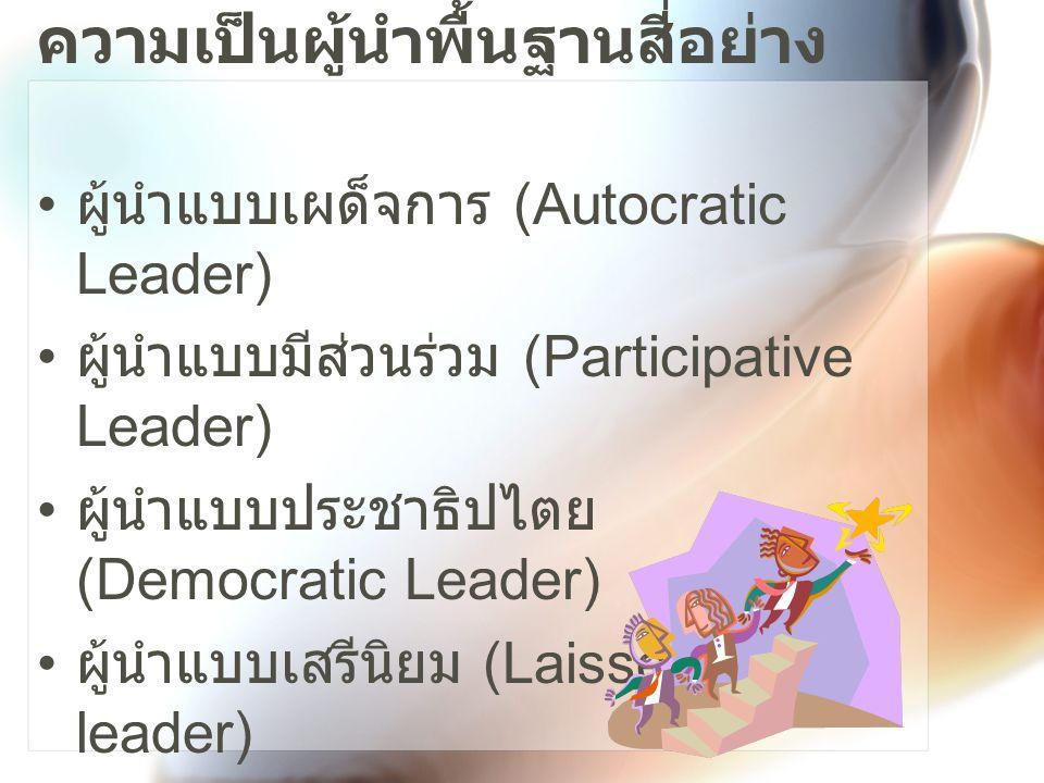 สไตล์ความเป็นผู้นำพื้นฐาน ผู้นำแบบ เผด็จการ ผู้นำแบบมี ส่วนร่วม ผู้นำแบบ ประชาธิปไ ตย ผู้นำแบบ เสรีนิยม ผู้นำบอกสิ่ง ที่ต้องการ แก่ผู้ที่อยู่ใต้ บังคับบัญชา ผู้นำเปิด โอกาสและ คาดหวังการ มีส่วนร่วม ของผู้อยู่ใต้ บังคับบัญชา ผู้นำ แสวงหา หลักการที่ เห็นพ้อง ต้องกันเป็น ส่วนใหญ่ จากผู้อยู่ใต้ บังคับบัญชา ผู้นำปล่อย ให้สมาชิก ของกลุ่ม ตัดสินใจทุก อย่าง ทฤษฎี X ของแมค เกรเกอร์ ทฤษฎี Y ของแมคเกร เกอร์ ผู้เชี่ยวชา ญเฉพาะ ด้าน