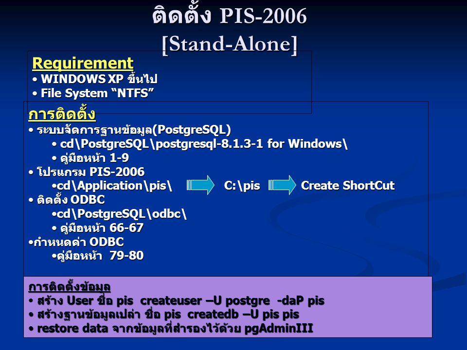 """ติดตั้ง PIS-2006 [Stand-Alone] Requirement WINDOWS XP ขึ้นไป WINDOWS XP ขึ้นไป File System """"NTFS"""" File System """"NTFS"""" การติดตั้ง ระบบจัดการฐานข้อมูล(Po"""