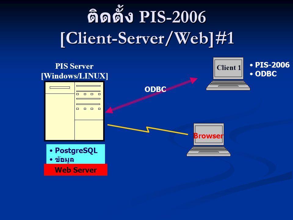 ติดตั้ง PIS-2006 [Client-Server/Web]#2 Client 1 PIS Server [Windows/LINUX] ODBC PIS-2006 ODBC PostgreSQL ข้อมูล PostgreSQL ข้อมูล Browser Web Server Client 2 PIS-2006 ODBC Internet/Intranet