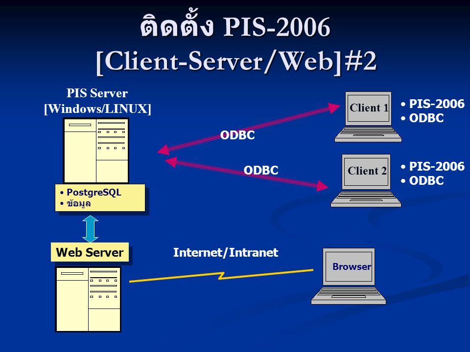 ติดตั้ง PIS-2006 [Client-Server/Web]#2 Client 1 PIS Server [Windows/LINUX] ODBC PIS-2006 ODBC PostgreSQL ข้อมูล PostgreSQL ข้อมูล Browser Web Server C