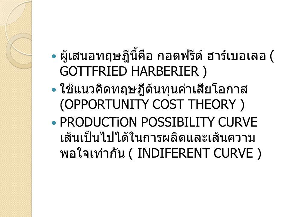 ผู้เสนอทฤษฎีนี้คือ กอตฟรีต์ ฮาร์เบอเลอ ( GOTTFRIED HARBERIER ) ใช้แนวคิดทฤษฎีต้นทุนค่าเสียโอกาส (OPPORTUNITY COST THEORY ) PRODUCTiON POSSIBILITY CURV