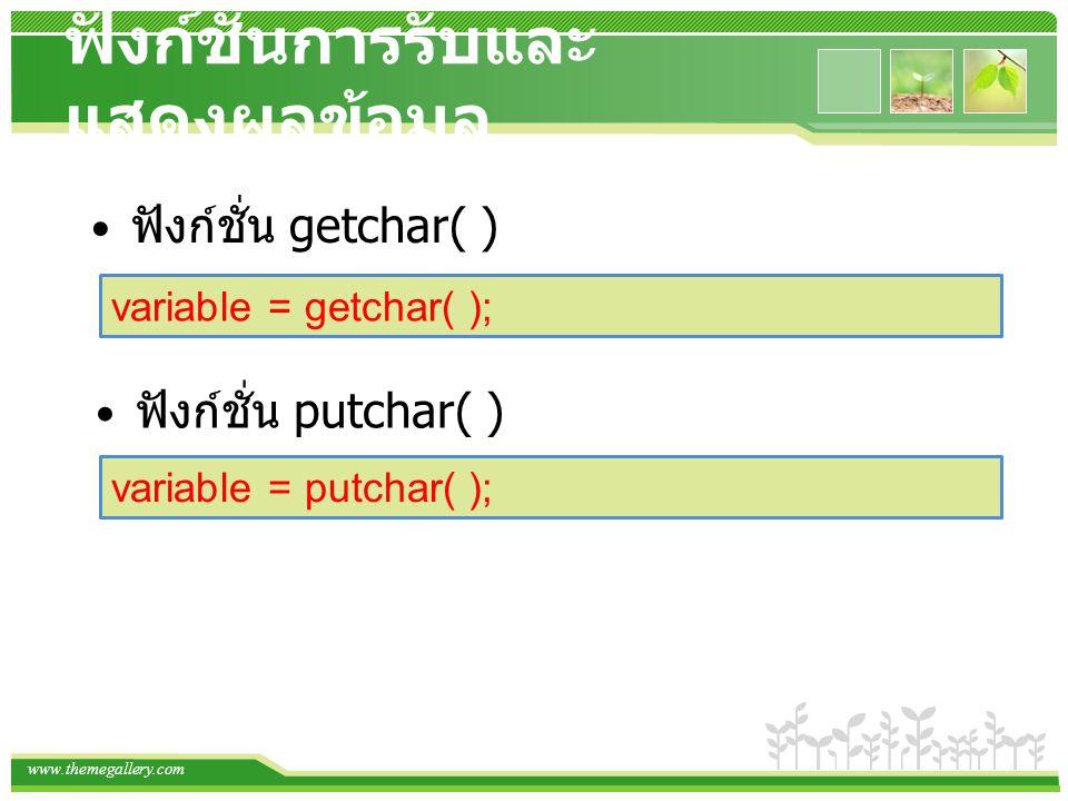 www.themegallery.com ฟังก์ชั่นการรับและ แสดงผลข้อมูล ฟังก์ชั่น getchar( ) variable = getchar( ); ฟังก์ชั่น putchar( ) variable = putchar( );