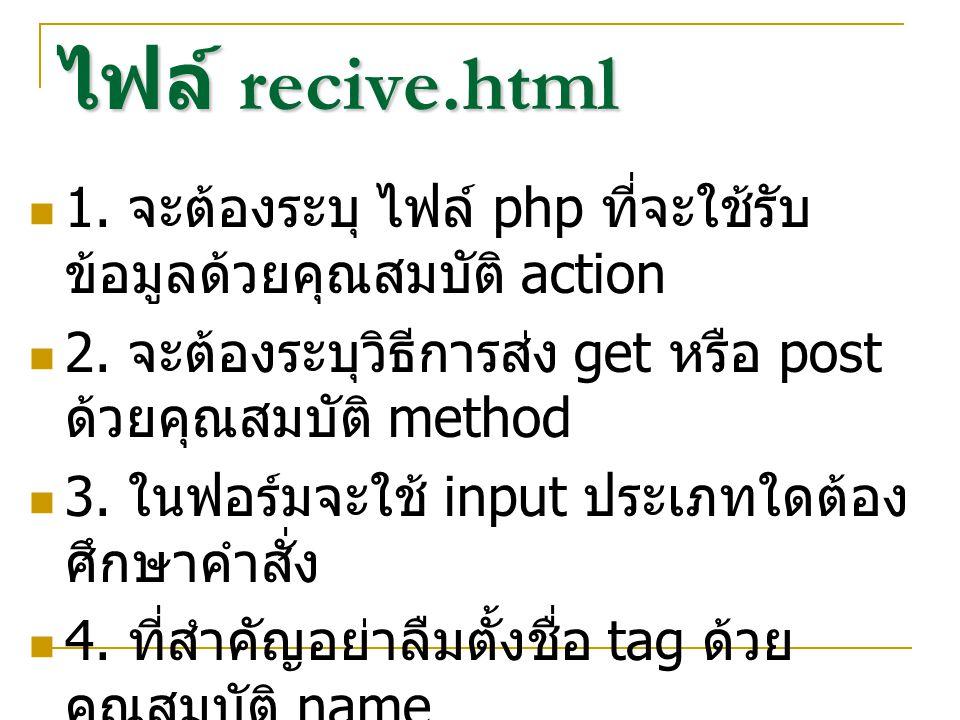 ไฟล์ recive.html 1. จะต้องระบุ ไฟล์ php ที่จะใช้รับ ข้อมูลด้วยคุณสมบัติ action 2.