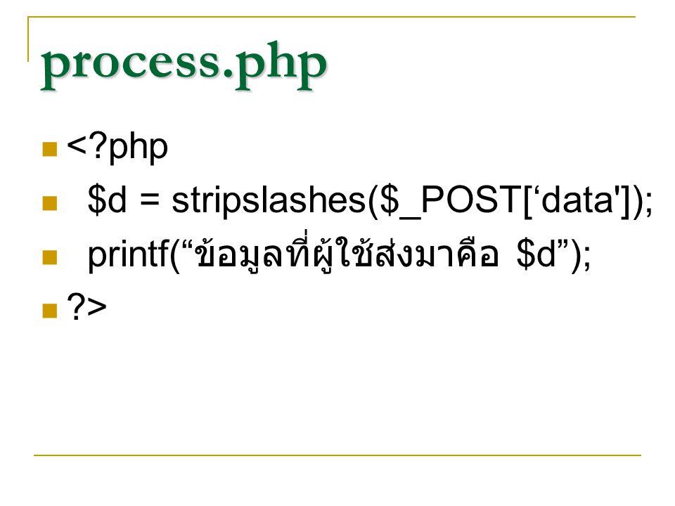 "process.php <?php $d = stripslashes($_POST['data']); printf("" ข้อมูลที่ผู้ใช้ส่งมาคือ $d""); ?>"