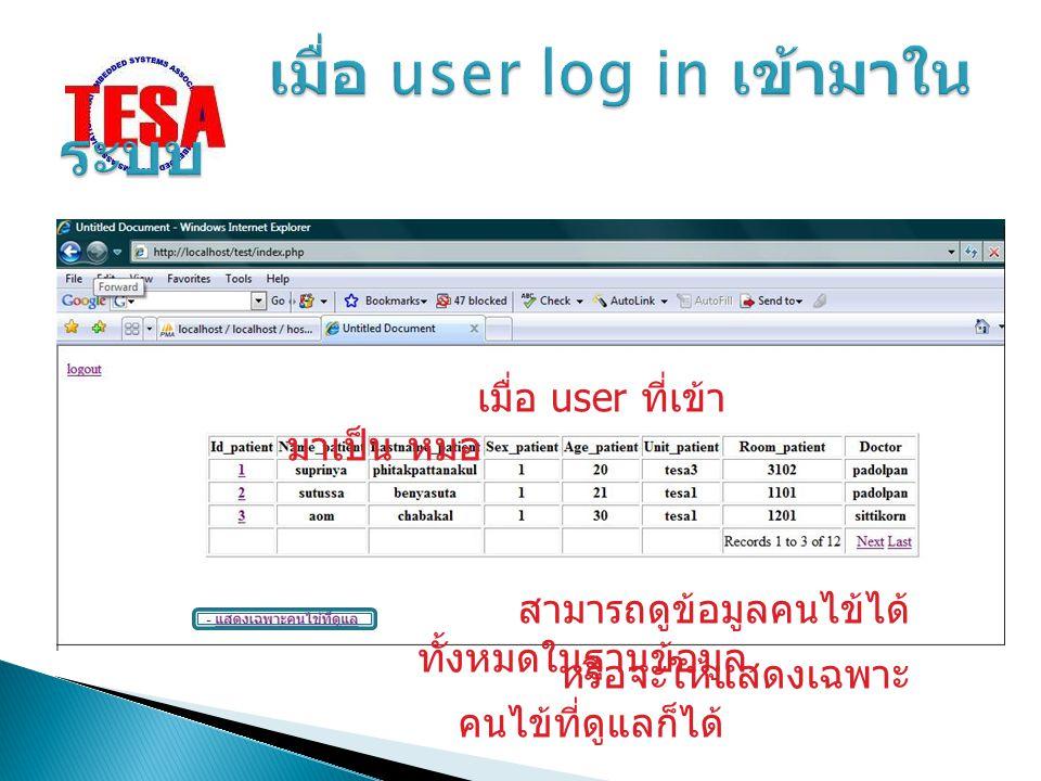 เมื่อ user ที่เข้า มาเป็น หมอ สามารถดูข้อมูลคนไข้ได้ ทั้งหมดในฐานข้อมูล หรือจะให้แสดงเฉพาะ คนไข้ที่ดูแลก็ได้