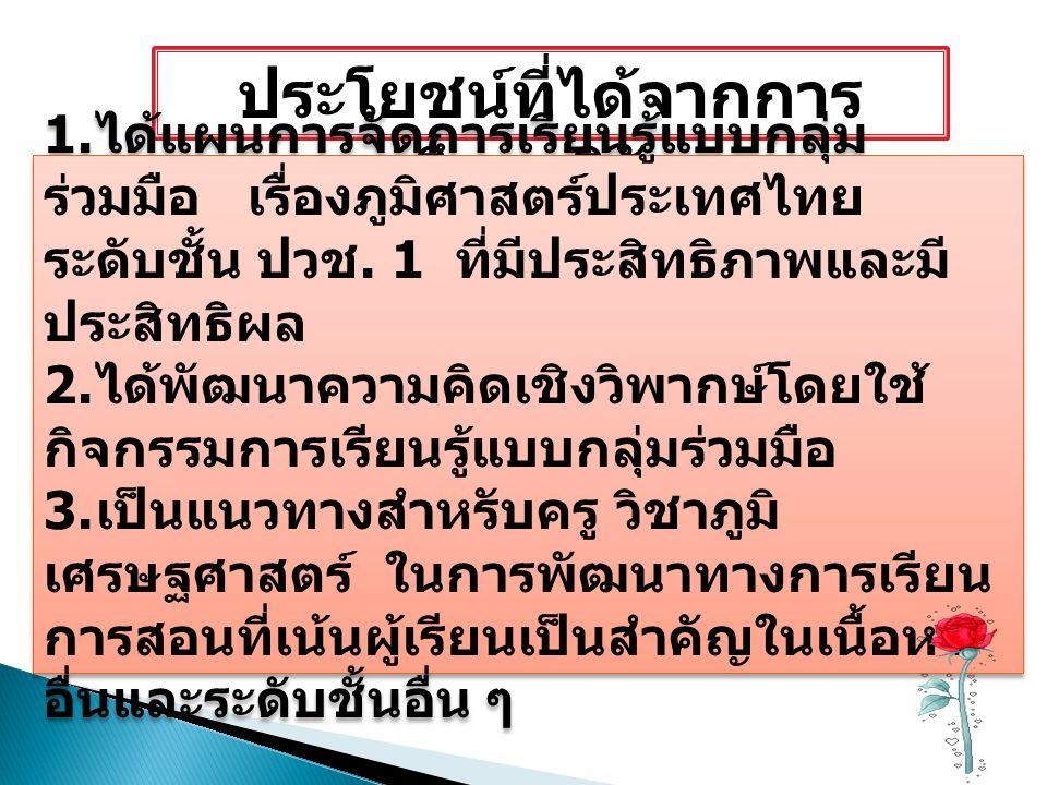 ประโยชน์ที่ได้จากการ ศึกษาวิจัย 1. ได้แผนการจัดการเรียนรู้แบบกลุ่ม ร่วมมือ เรื่องภูมิศาสตร์ประเทศไทย ระดับชั้น ปวช. 1 ที่มีประสิทธิภาพและมี ประสิทธิผล