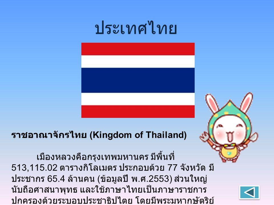 ประเทศไทย ราชอาณาจักรไทย (Kingdom of Thailand) เมืองหลวงคือกรุงเทพมหานคร มีพื้นที่ 513,115.02 ตารางกิโลเมตร ประกอบด้วย 77 จังหวัด มี ประชากร 65.4 ล้านคน ( ข้อมูลปี พ.