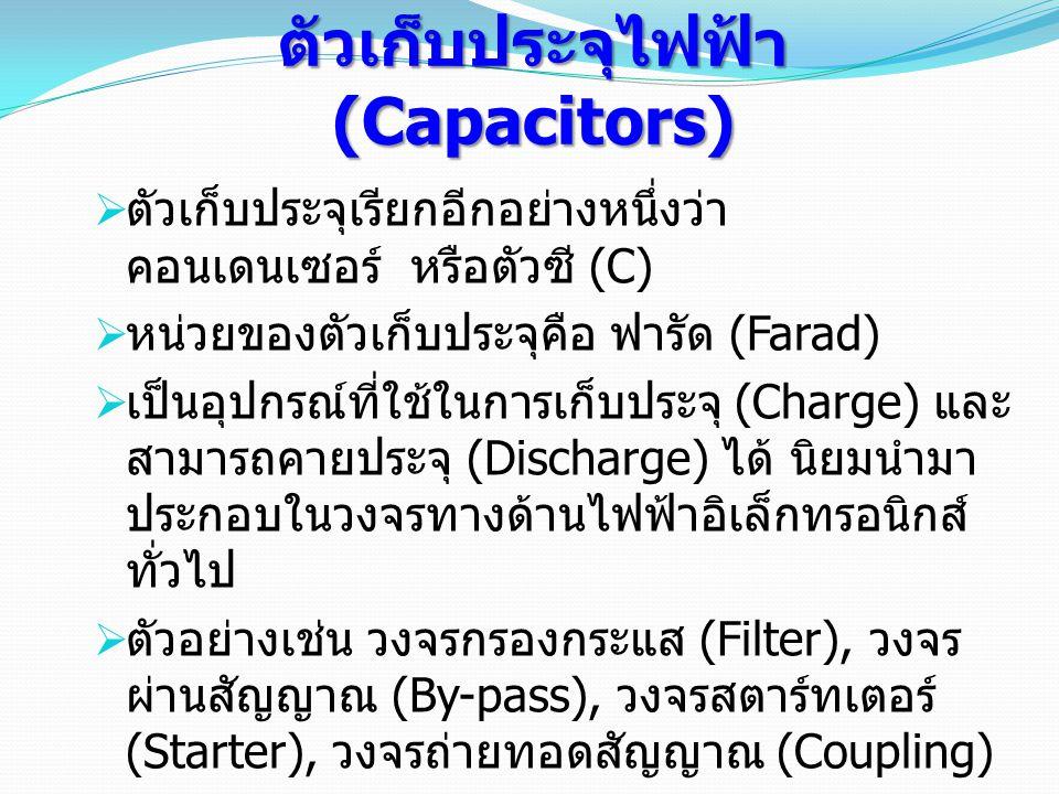 ตัวเก็บประจุไฟฟ้า (Capacitors)  ตัวเก็บประจุเรียกอีกอย่างหนึ่งว่า คอนเดนเซอร์ หรือตัวซี (C)  หน่วยของตัวเก็บประจุคือ ฟารัด (Farad)  เป็นอุปกรณ์ที่ใช้ในการเก็บประจุ (Charge) และ สามารถคายประจุ (Discharge) ได้ นิยมนำมา ประกอบในวงจรทางด้านไฟฟ้าอิเล็กทรอนิกส์ ทั่วไป  ตัวอย่างเช่น วงจรกรองกระแส (Filter), วงจร ผ่านสัญญาณ (By-pass), วงจรสตาร์ทเตอร์ (Starter), วงจรถ่ายทอดสัญญาณ (Coupling) ฯลฯ  ตัวเก็บประจุแบ่งออกเป็น 3 ชนิดคือ แบบ ค่าคงที่ แบบเปลี่ยนแปลงค่าได้และแบบเลือก ค่าได้