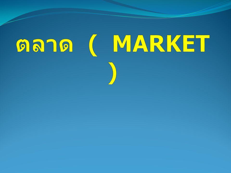 ตลาดแข่งขันสมบูรณ์ ( PERFECT COMPETTITION ) ตลาดแข่งขันไม่สมบูรณ์ ( IMPERFECT COMPETTITION ) ตลาดผูกขาด ( MONOPOLY ) ตลาดผู้ขายน้อยราย ( OLYGOPOLY ) ตลาดกึ่งแข่งขันกึ่งผูกขาด ( MONOPOLISTIC COMPETTITION )