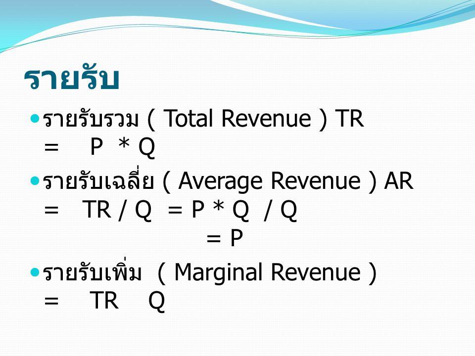รายรับ รายรับรวม ( Total Revenue ) TR = P * Q รายรับเฉลี่ย ( Average Revenue ) AR = TR / Q = P * Q / Q = P รายรับเพิ่ม ( Marginal Revenue ) = TR Q