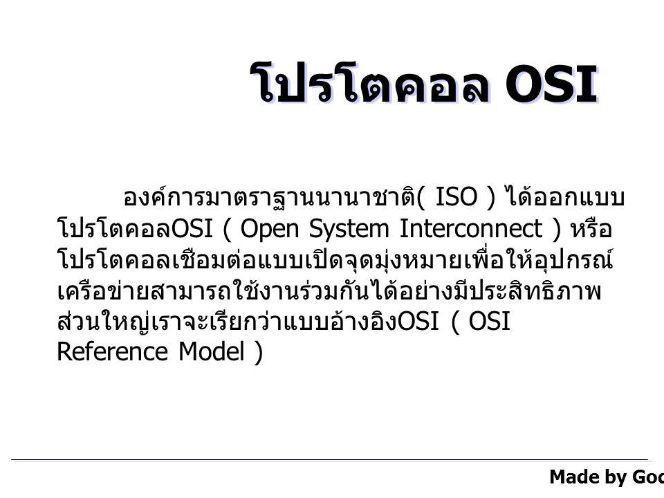 Made by Godsaider โปรโตคอล OSI องค์การมาตราฐานนานาชาติ ( ISO ) ได้ออกแบบ โปรโตคอล OSI ( Open System Interconnect ) หรือ โปรโตคอลเชือมต่อแบบเปิดจุดมุ่งหมายเพื่อให้อุปกรณ์ เครือข่ายสามารถใช้งานร่วมกันได้อย่างมีประสิทธิภาพ ส่วนใหญ่เราจะเรียกว่าแบบอ้างอิง OSI ( OSI Reference Model )
