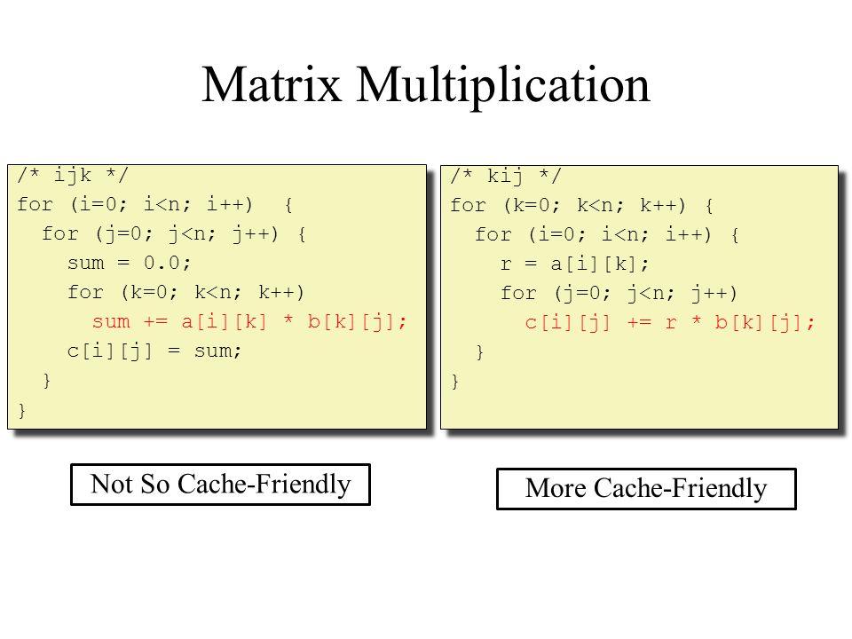 Matrix Multiplication /* ijk */ for (i=0; i<n; i++) { for (j=0; j<n; j++) { sum = 0.0; for (k=0; k<n; k++) sum += a[i][k] * b[k][j]; c[i][j] = sum; } /* ijk */ for (i=0; i<n; i++) { for (j=0; j<n; j++) { sum = 0.0; for (k=0; k<n; k++) sum += a[i][k] * b[k][j]; c[i][j] = sum; } /* kij */ for (k=0; k<n; k++) { for (i=0; i<n; i++) { r = a[i][k]; for (j=0; j<n; j++) c[i][j] += r * b[k][j]; } /* kij */ for (k=0; k<n; k++) { for (i=0; i<n; i++) { r = a[i][k]; for (j=0; j<n; j++) c[i][j] += r * b[k][j]; } More Cache-Friendly Not So Cache-Friendly