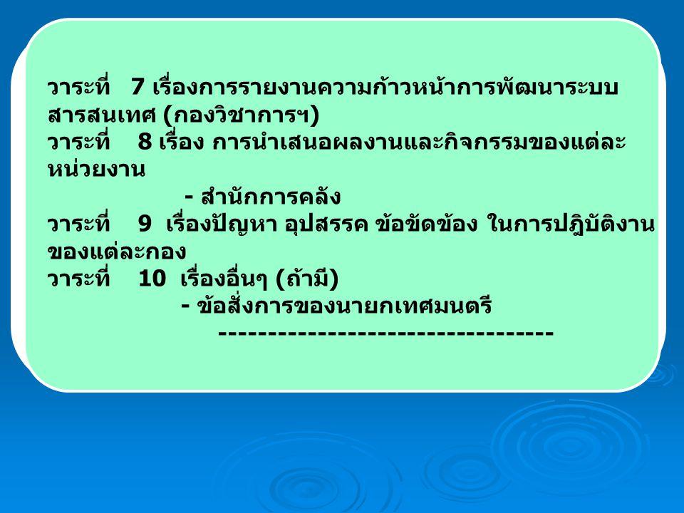 วาระที่ 7 เรื่องการรายงานความก้าวหน้าการพัฒนาระบบ สารสนเทศ ( กองวิชาการฯ ) วาระที่ 8 เรื่อง การนำเสนอผลงานและกิจกรรมของแต่ละ หน่วยงาน - สำนักการคลัง วาระที่ 9 เรื่องปัญหา อุปสรรค ข้อขัดข้อง ในการปฎิบัติงาน ของแต่ละกอง วาระที่ 10 เรื่องอื่นๆ ( ถ้ามี ) - ข้อสั่งการของนายกเทศมนตรี ----------------------------------