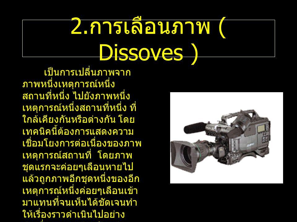 2. การเลือนภาพ ( Dissoves ) เป็นการเปลี่นภาพจาก ภาพหนึ่งเหตุการณ์หนึ่ง สถานที่หนึ่ง ไปยังภาพหนึ่ง เหตุการณ์หนึ่งสถานที่หนึ่ง ที่ ใกล้เคียงกันหรือต่างก
