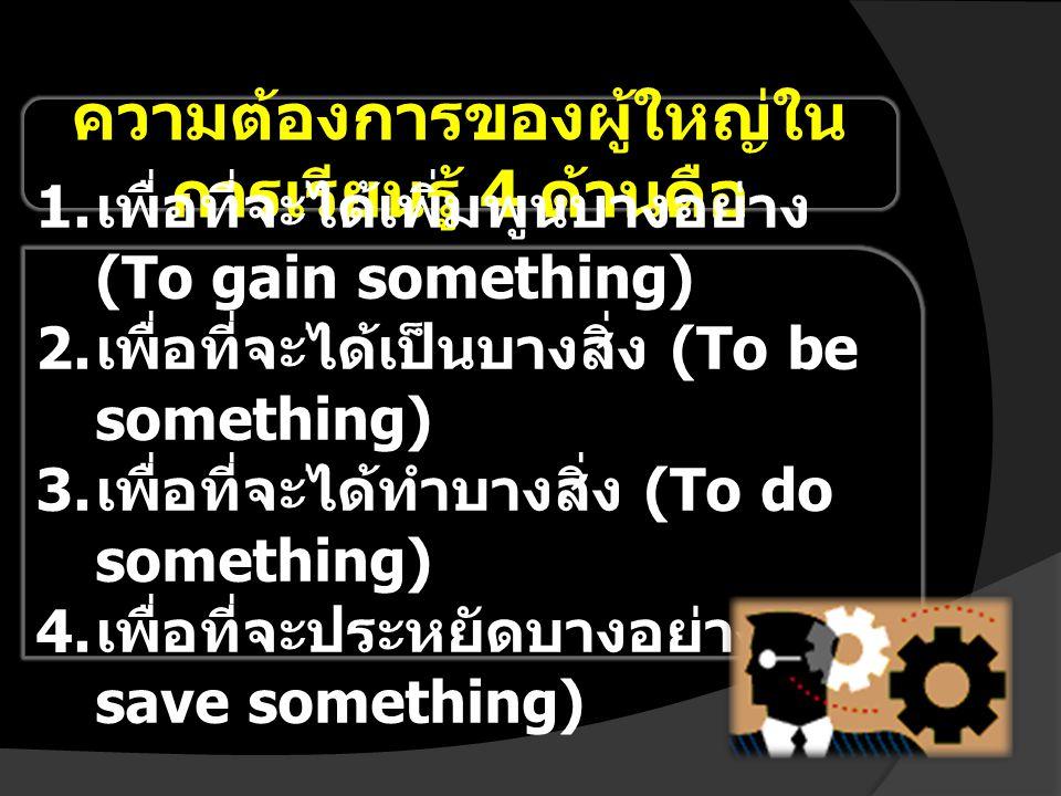 ความต้องการของผู้ใหญ่ใน การเรียนรู้ 4 ด้านคือ 1. เพื่อที่จะได้เพิ่มพูนบางอย่าง (To gain something) 2. เพื่อที่จะได้เป็นบางสิ่ง (To be something) 3. เพ