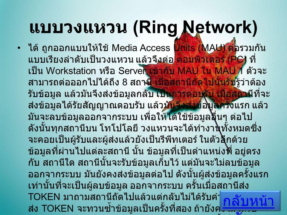 แบบวงแหวน (Ring Network) ได้ ถูกออกแบบให้ใช้ Media Access Units (MAU) ต่อรวมกัน แบบเรียงลำดับเป็นวงแหวน แล้วจึงต่อ คอมพิวเตอร์ (PC) ที่ เป็น Workstation หรือ Server เข้ากับ MAU ใน MAU 1 ตัวจะ สามารถต่อออกไปได้ถึง 8 สถานี เมื่อสถานีถัดไปนั้นรับรู้ว่าต้อง รับข้อมูล แล้วมันจึงส่งข้อมูลกลับ เป็นการตอบรับ เมื่อสถานีที่จะ ส่งข้อมูลได้รัยสัญญาณตอบรับ แล้วมันจึงส่งข้อมูลครั้งแรก แล้ว มันจะลบข้อมูลออกจากระบบ เพื่อให้ได้ใช้ข้อมูลอื่นๆ ต่อไป ดังนั้นทุกสถานีบน โทโปโลยี วงแหวนจะได้ทำงานทั้งหมดซึ่ง จะคอยเป็นผู้รับและผู้ส่งแล้วยังเป็นรีพีทเตอร์ ในตัวอีกด้วย ข้อมูลที่ผ่านไปแต่ละสถานี นั้น ข้อมูลที่เป็นตำแหน่งที่ อยู่ตรง กับ สถานีใด สถานีนั้นจะรับข้อมูลเก็บไว้ แต่มันจะไม่ลบข้อมูล ออกจากระบบ มันยังคงส่งข้อมูลต่อไป ดังนั้นผู้ส่งข้อมูลครั้งแรก เท่านั้นที่จะเป็นผู้ลบข้อมูล ออกจากระบบ ครั้นเมื่อสถานีส่ง TOKEN มาถามสถานีถัดไปแล้วแต่กลับไม่ได้รับคำตอบ สถานี ส่ง TOKEN จะทวนซ้ำข้อมูลเป็นครั้งที่สอง ถ้ายังคงไม่ได้รับ คำตอบ จึงส่งข้อมูลออกไปได้ เหตุการณ์ดังกล่าวนี้ เป็นอีก แนวทางหนึ่งในการแก้ปัญหาที่ไม่ให้ระบบหยุดชะงักการทำงาน ลงของระบบ เนื่องจากสถานีหนึ่งเกิดการเสียหาย หรือชำรุด ระบบจึงยังคงสามารถทำงานต่อไปได้ กลับหน้า หลัก กลับหน้า หลัก