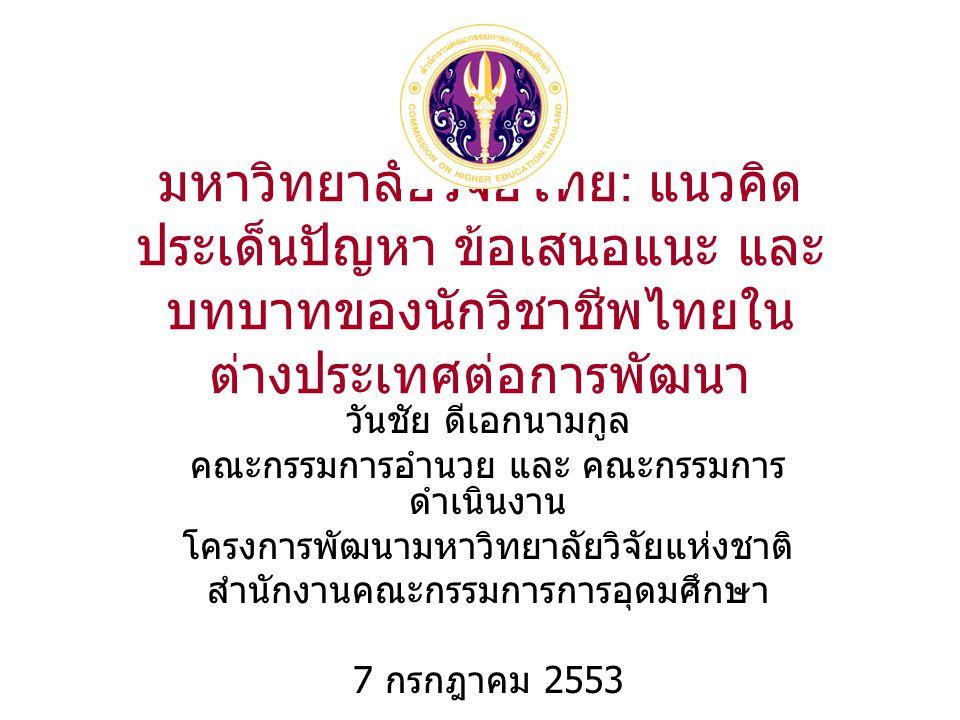 มหาวิทยาลัยวิจัยไทย : แนวคิด ประเด็นปัญหา ข้อเสนอแนะ และ บทบาทของนักวิชาชีพไทยใน ต่างประเทศต่อการพัฒนา วันชัย ดีเอกนามกูล คณะกรรมการอำนวย และ คณะกรรมการ ดำเนินงาน โครงการพัฒนามหาวิทยาลัยวิจัยแห่งชาติ สำนักงานคณะกรรมการการอุดมศึกษา 7 กรกฎาคม 2553