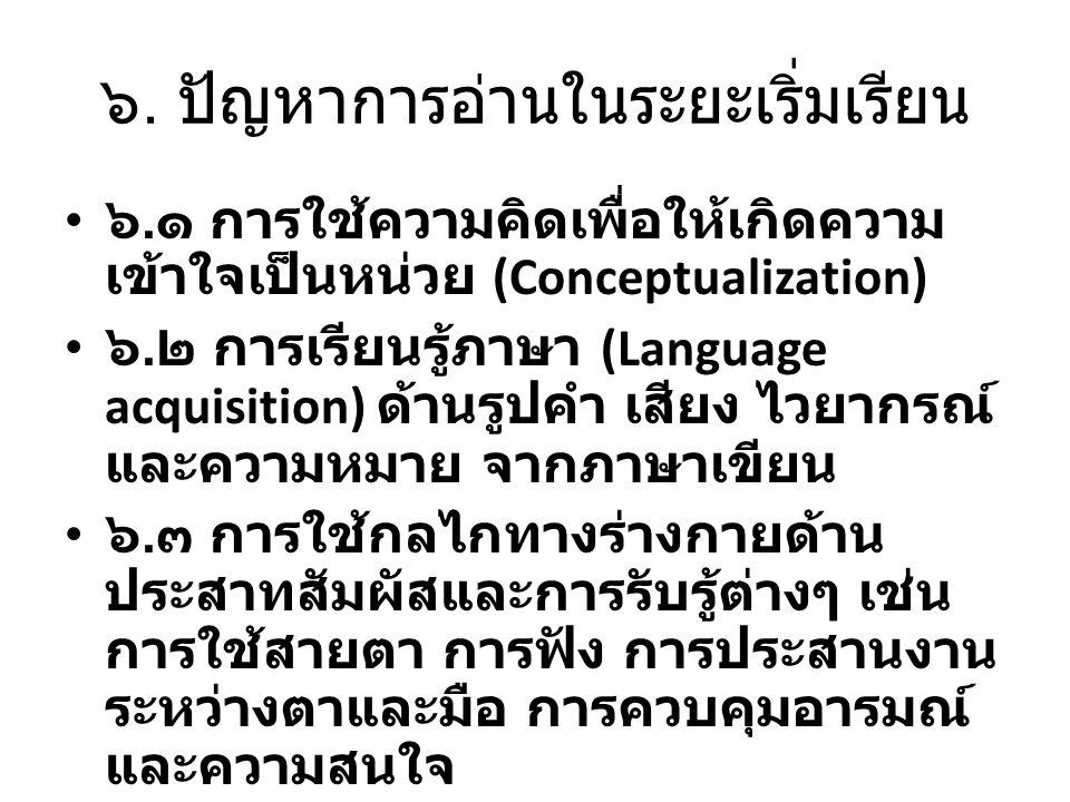 ๖. ปัญหาการอ่านในระยะเริ่มเรียน ๖. ๑ การใช้ความคิดเพื่อให้เกิดความ เข้าใจเป็นหน่วย (Conceptualization) ๖. ๒ การเรียนรู้ภาษา (Language acquisition) ด้า