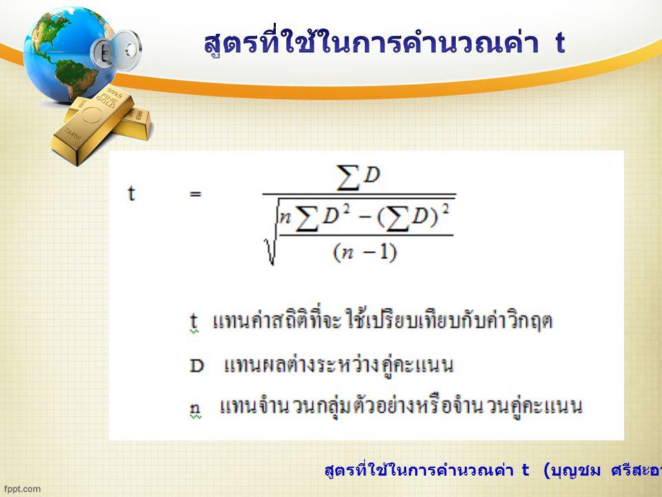 สูตรที่ใช้ในการคำนวณค่า t ( บุญชม ศรีสะอาด, 2543 : 109 – 110)