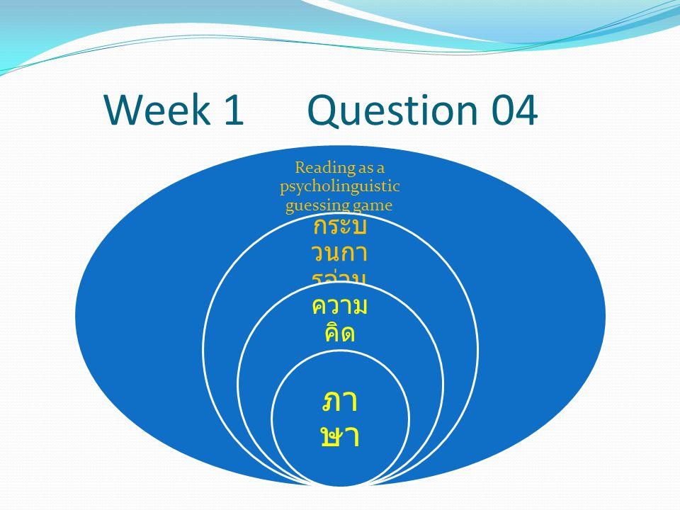 Week 1 Question 04 Reading as a psycholinguistic guessing game กระบ วนกา รอ่าน ความ คิด ภา ษา