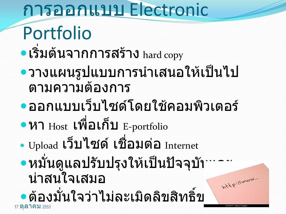 การออกแบบ Electronic Portfolio เริ่มต้นจากการสร้าง hard copy วางแผนรูปแบบการนำเสนอให้เป็นไป ตามความต้องการ ออกแบบเว็บไซด์โดยใช้คอมพิวเตอร์ หา Host เพื