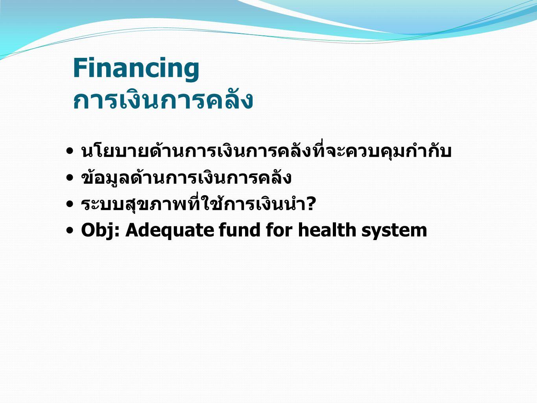 Financing การเงินการคลัง นโยบายด้านการเงินการคลังที่จะควบคุมกำกับ ข้อมูลด้านการเงินการคลัง ระบบสุขภาพที่ใช้การเงินนำ? Obj: Adequate fund for health sy