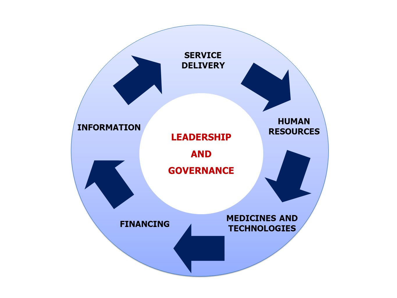 LEADERSHIP AND GOVERNANCE SERVICE DELIVERY HUMAN RESOURCES MEDICINES AND TECHNOLOGIES FINANCING INFORMATION