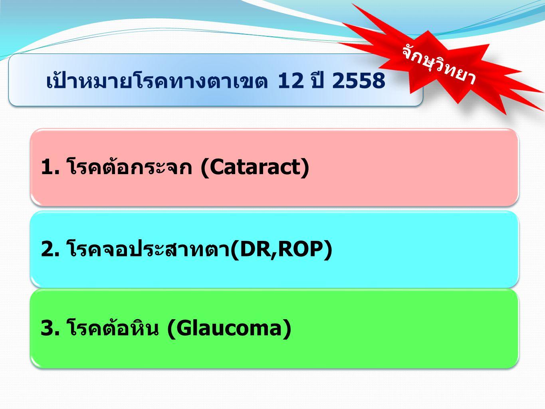 2. โรคจอประสาทตา(DR,ROP) 1. โรคต้อกระจก (Cataract) 3. โรคต้อหิน (Glaucoma) เป้าหมายโรคทางตาเขต 12 ปี 2558 จักษุวิทยา