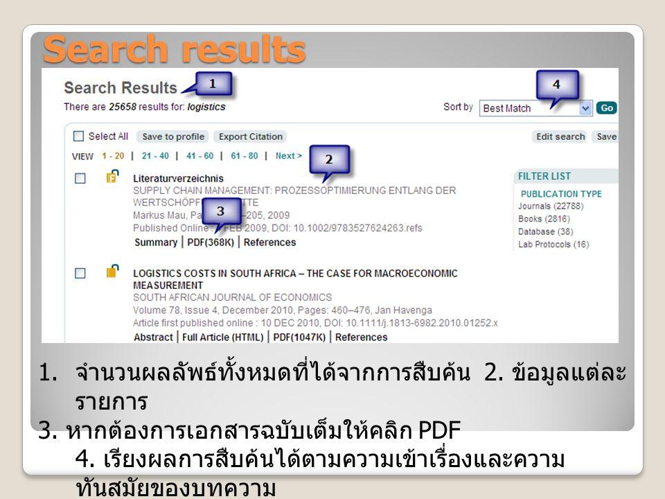 Search results 1. จำนวนผลลัพธ์ทั้งหมดที่ได้จากการสืบค้น 2. ข้อมูลแต่ละ รายการ 3. หากต้องการเอกสารฉบับเต็มให้คลิก PDF 4. เรียงผลการสืบค้นได้ตามความเข้า