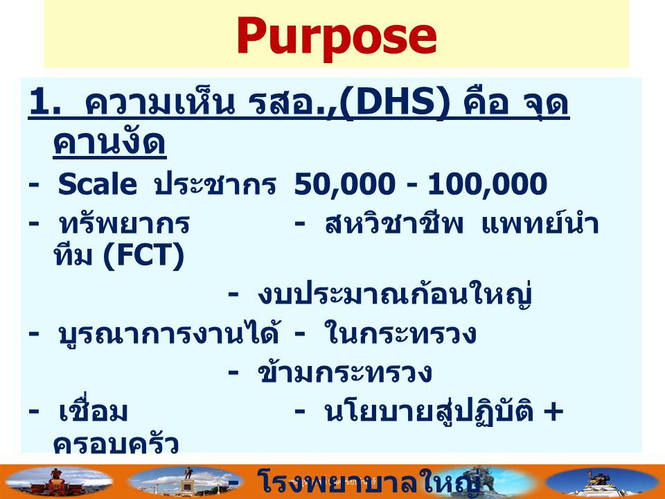 Purpose 1. ความเห็น รสอ.,(DHS) คือ จุด คานงัด - Scale ประชากร 50,000 - 100,000 - ทรัพยากร - สหวิชาชีพ แพทย์นำ ทีม (FCT) - งบประมาณก้อนใหญ่ - บูรณาการง