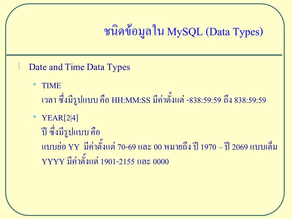 ชนิดข้อมูลใน MySQL (Data Types) l Date and Time Data Types TIME เวลา ซึ่งมีรูปแบบ คือ HH:MM:SS มีค่าตั้งแต่ -838:59:59 ถึง 838:59:59 YEAR[2|4] ปี ซึ่งมีรูปแบบ คือ แบบย่อ YY มีค่าตั้งแต่ 70-69 และ 00 หมายถึง ปี 1970 – ปี 2069 แบบเต็ม YYYY มีค่าตั้งแต่ 1901-2155 และ 0000