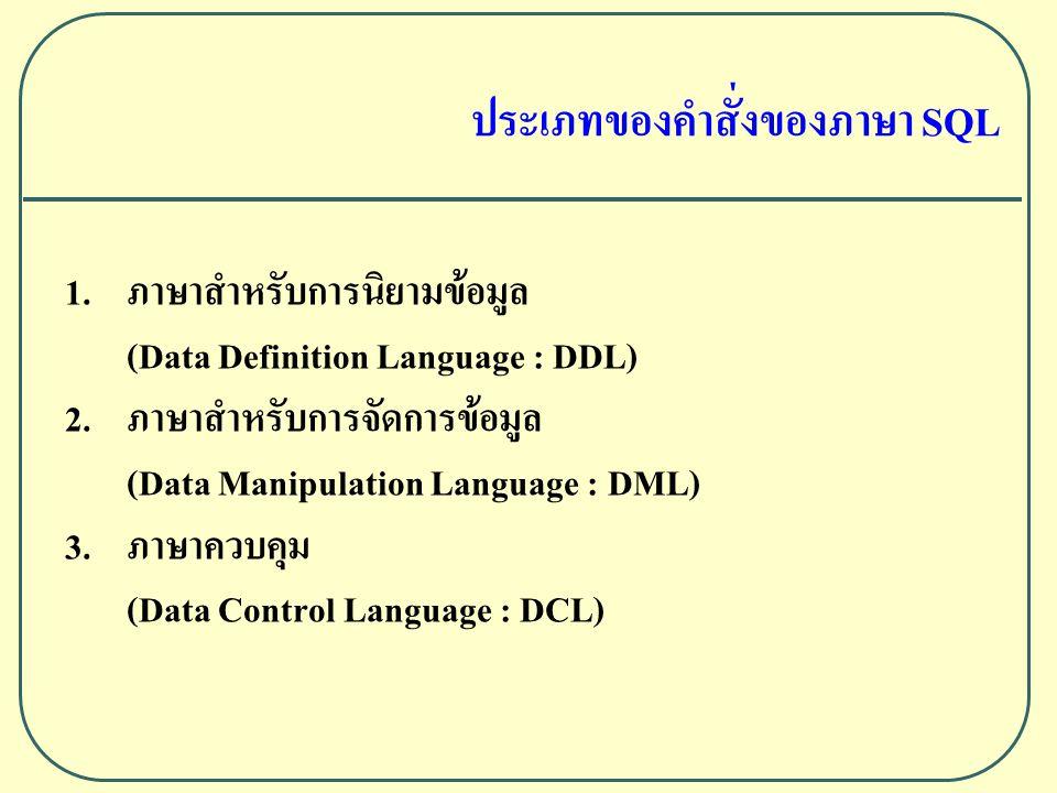 1.ภาษาสําหรับการนิยามขอมูล (Data Definition Language : DDL) 2.