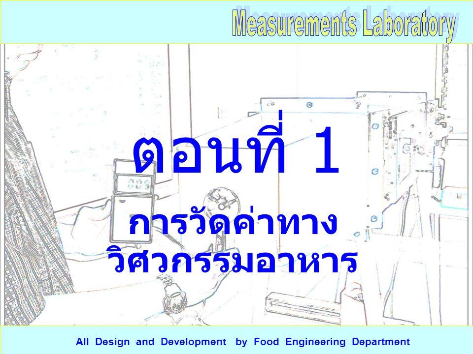 เครื่องมือที่ ใช้วัด วัตถุที่ วัด ค่า ที่ วัด ครั้งที่วัด จำนวน เลข นัยสำคั ญ การแปลงหน่วย 123 ค่าเฉ ลี่ย ระบ บ SI ระบ บ AE ระบ บ CGS ตารางที่ 1 การวัดค่าทาง วิศวกรรม All Design and Development by Food Engineering Department