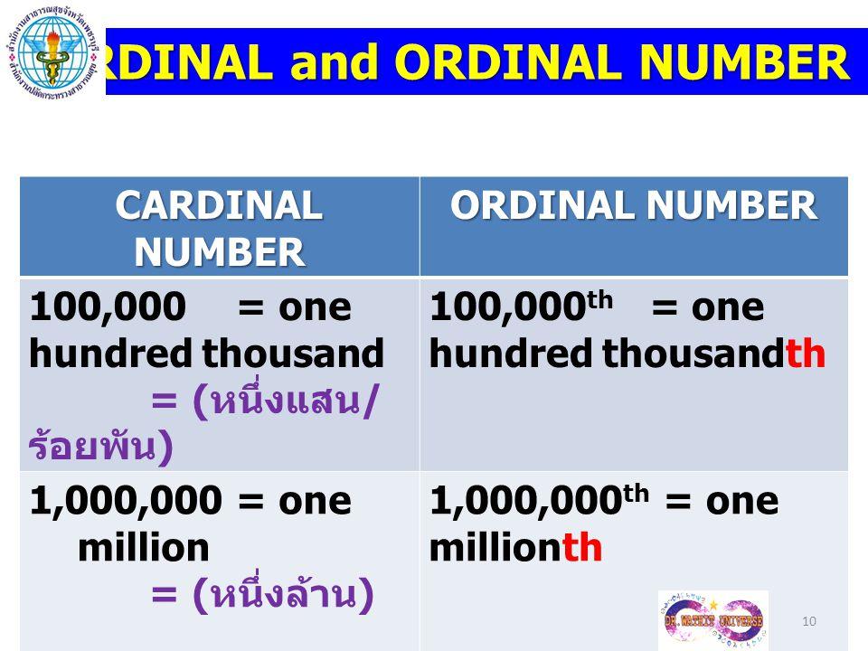 CARDINAL NUMBER ORDINAL NUMBER 100,000 = one hundred thousand = ( หนึ่งแสน / ร้อยพัน ) 100,000 th = one hundred thousandth 1,000,000 = one million = (