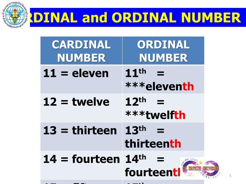 CARDINAL and ORDINAL NUMBER CARDINAL NUMBER ORDINAL NUMBER 11 = eleven11 th = ***eleventh 12 = twelve12 th = ***twelfth 13 = thirteen13 th = thirteent