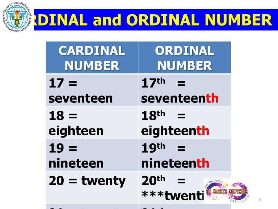 CARDINAL and ORDINAL NUMBER CARDINAL NUMBER ORDINAL NUMBER 17 = seventeen 17 th = seventeenth 18 = eighteen 18 th = eighteenth 19 = nineteen 19 th = n