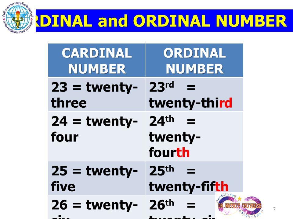 CARDINAL and ORDINAL NUMBER CARDINAL NUMBER ORDINAL NUMBER 23 = twenty- three 23 rd = twenty-third 24 = twenty- four 24 th = twenty- fourth 25 = twent