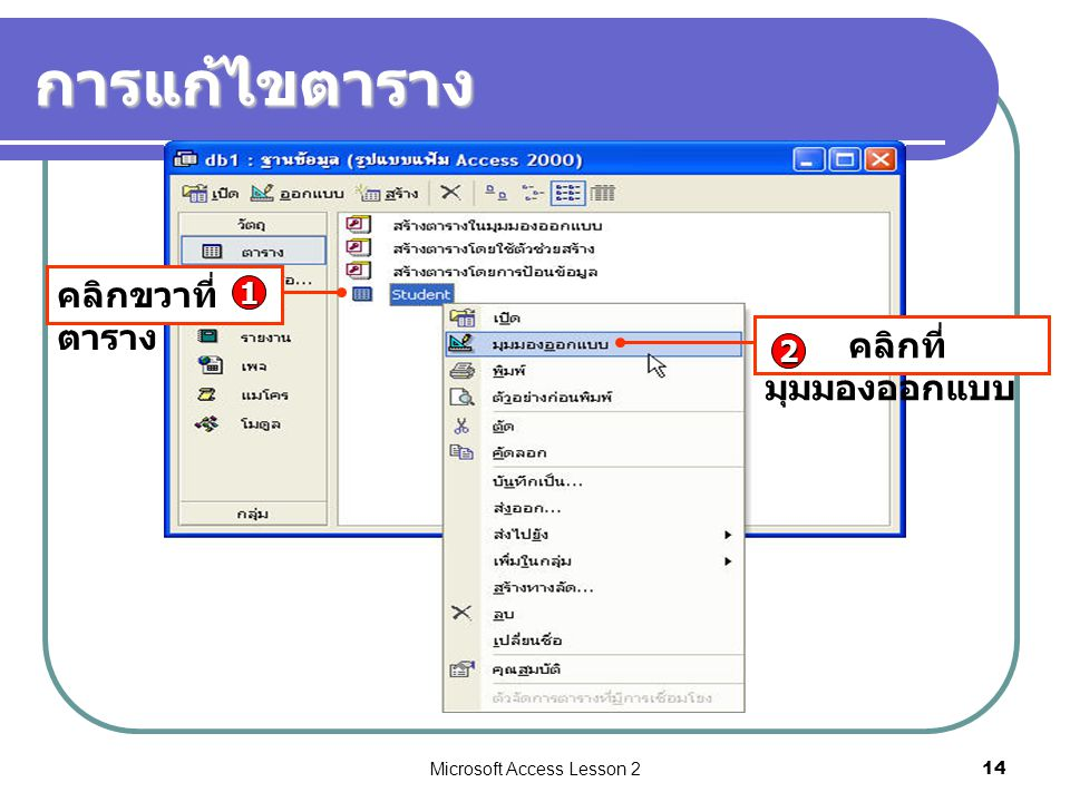 Microsoft Access Lesson 214 การแก้ไขตาราง คลิกขวาที่ ตาราง 1 คลิกที่ มุมมองออกแบบ 2