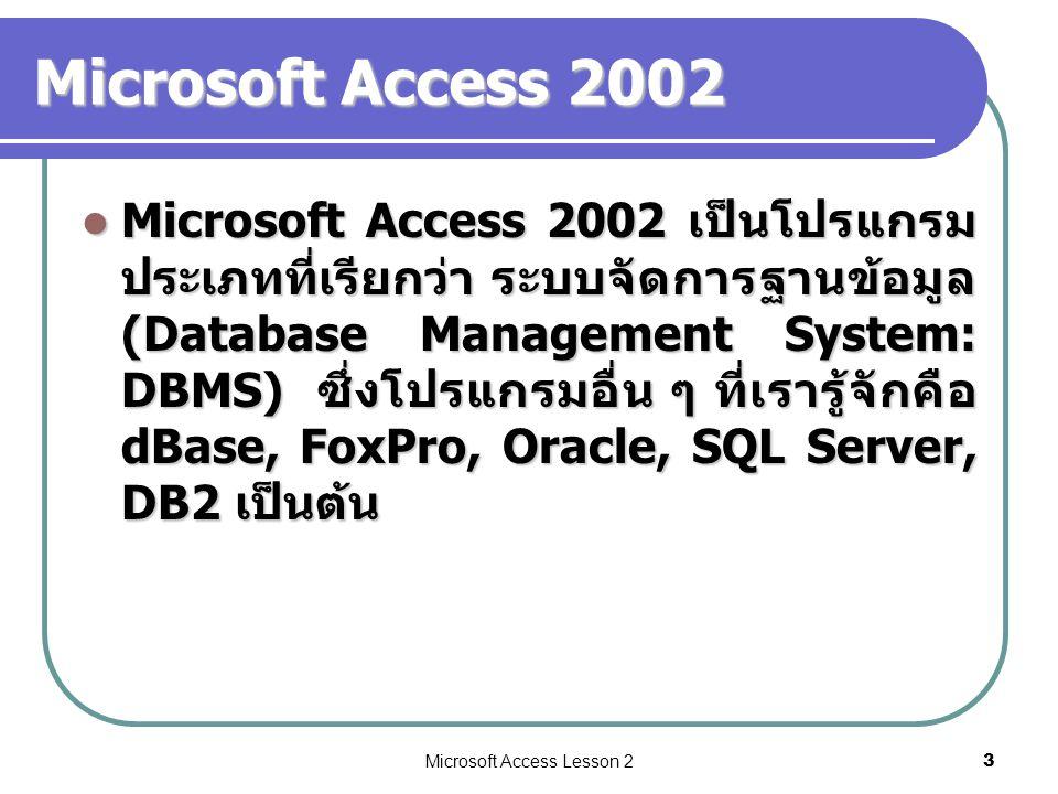 Microsoft Access Lesson 24 เริ่มต้นสร้างฐานข้อมูล คลิกเพื่อ สร้าง ฐานข้อมูล ใหม่ 1 คลิกเพื่อ ยืนยัน การสร้าง ฐานข้อมูล 3 ตั้งชื่อ ฐานข้อมูล 2