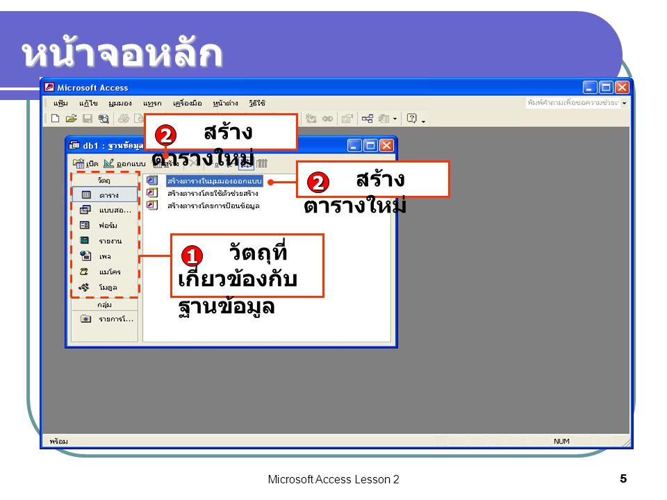 Microsoft Access Lesson 25 หน้าจอหลัก สร้าง ตารางใหม่ 2 2 วัตถุที่ เกี่ยวข้องกับ ฐานข้อมูล 1