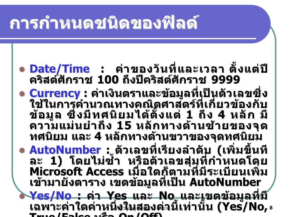Microsoft Access Lesson 28 การกำหนดชนิดของฟิลด์ Date/Time : ค่าของวันที่และเวลา ตั้งแต่ปี คริสต์ศักราช 100 ถึงปีคริสต์ศักราช 9999 Date/Time : ค่าของวันที่และเวลา ตั้งแต่ปี คริสต์ศักราช 100 ถึงปีคริสต์ศักราช 9999 Currency : ค่าเงินตราและข้อมูลที่เป็นตัวเลขซึ่ง ใช้ในการคำนวณทางคณิตศาสตร์ที่เกี่ยวข้องกับ ข้อมูล ซึ่งมีทศนิยมได้ตั้งแต่ 1 ถึง 4 หลัก มี ความแม่นยำถึง 15 หลักทางด้านซ้ายของจุด ทศนิยม และ 4 หลักทางด้านขวาของจุดทศนิยม Currency : ค่าเงินตราและข้อมูลที่เป็นตัวเลขซึ่ง ใช้ในการคำนวณทางคณิตศาสตร์ที่เกี่ยวข้องกับ ข้อมูล ซึ่งมีทศนิยมได้ตั้งแต่ 1 ถึง 4 หลัก มี ความแม่นยำถึง 15 หลักทางด้านซ้ายของจุด ทศนิยม และ 4 หลักทางด้านขวาของจุดทศนิยม AutoNumber : ตัวเลขที่เรียงลำดับ ( เพิ่มขึ้นที ละ 1) โดยไม่ซ้ำ หรือตัวเลขสุ่มที่กำหนดโดย Microsoft Access เมื่อใดก็ตามที่มีระเบียนเพิ่ม เข้ามายังตาราง เขตข้อมูลที่เป็น AutoNumber AutoNumber : ตัวเลขที่เรียงลำดับ ( เพิ่มขึ้นที ละ 1) โดยไม่ซ้ำ หรือตัวเลขสุ่มที่กำหนดโดย Microsoft Access เมื่อใดก็ตามที่มีระเบียนเพิ่ม เข้ามายังตาราง เขตข้อมูลที่เป็น AutoNumber Yes/No : ค่า Yes และ No และเขตข้อมูลที่มี เฉพาะค่าใดค่าหนึ่งในสองค่านี้เท่านั้น (Yes/No, True/False หรือ On/Off) Yes/No : ค่า Yes และ No และเขตข้อมูลที่มี เฉพาะค่าใดค่าหนึ่งในสองค่านี้เท่านั้น (Yes/No, True/False หรือ On/Off)