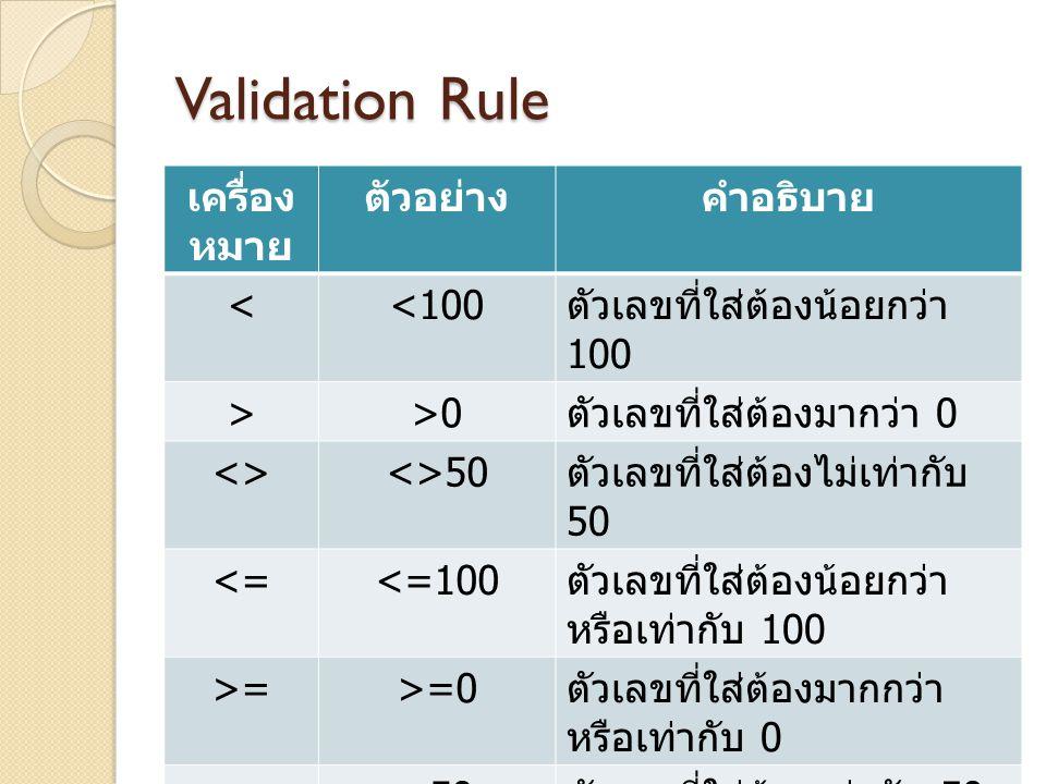 Validation Rule เครื่อง หมาย ตัวอย่างคำอธิบาย <<100 ตัวเลขที่ใส่ต้องน้อยกว่า 100 >>0 ตัวเลขที่ใส่ต้องมากว่า 0 <><>50 ตัวเลขที่ใส่ต้องไม่เท่ากับ 50 <=<