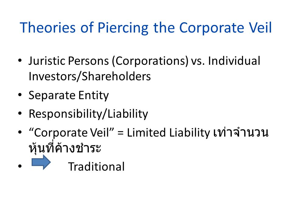 Piercing the Corporate Veil legal decision to treat the rights or duties of a corporation as the rights or liabilities of its shareholders. Usually a