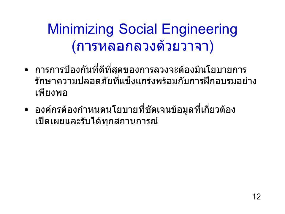 12 Minimizing Social Engineering ( การหลอกลวงด้วยวาจา ) การการป้องกันที่ดีที่สุดของการลวงจะต้องมีนโยบายการ รักษาความปลอดภัยที่แข็งแกร่งพร้อมกับการฝึกอ