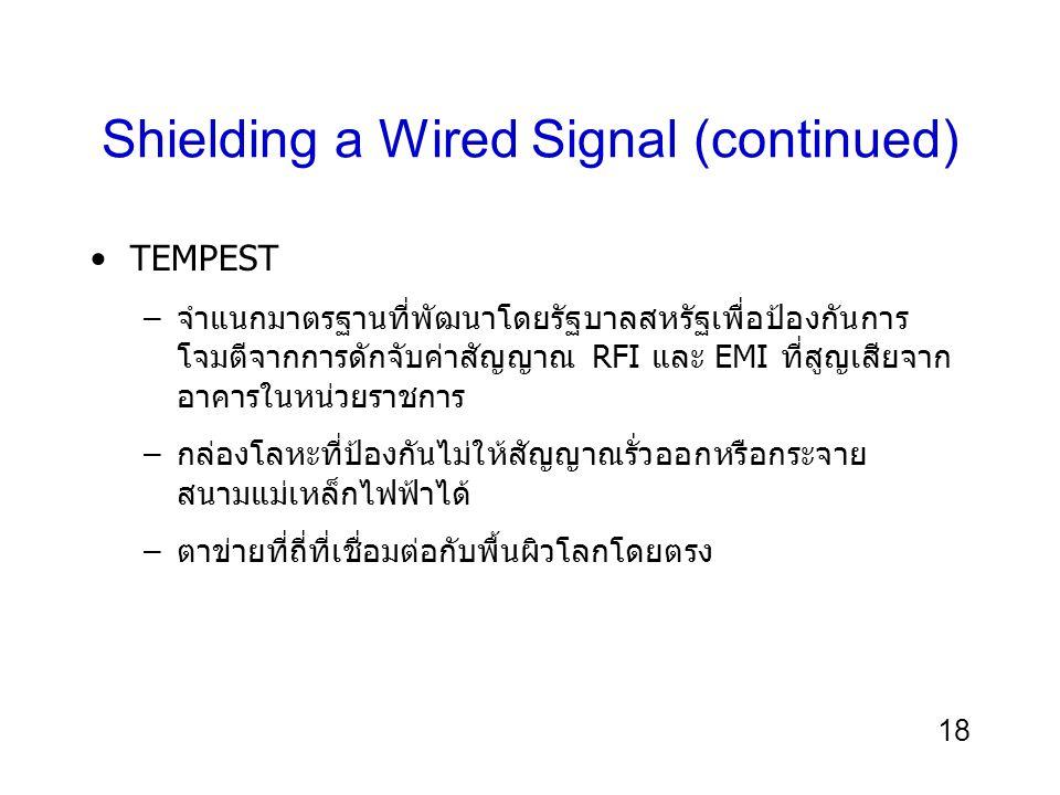 18 Shielding a Wired Signal (continued) TEMPEST –จำแนกมาตรฐานที่พัฒนาโดยรัฐบาลสหรัฐเพื่อป้องกันการ โจมตีจากการดักจับค่าสัญญาณ RFI และ EMI ที่สูญเสียจา