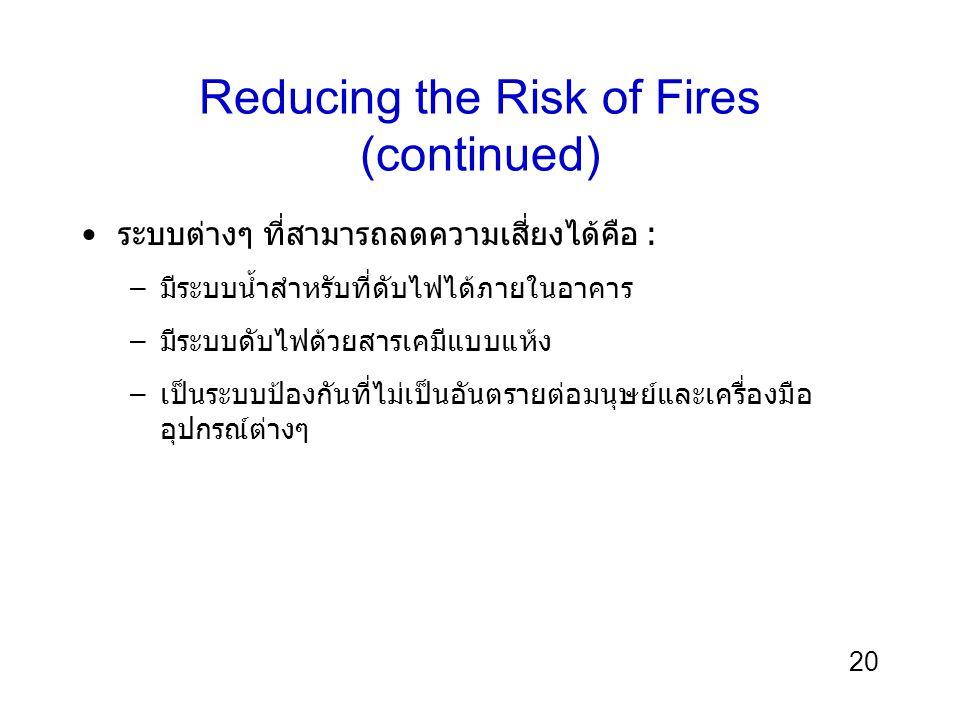 20 Reducing the Risk of Fires (continued) ระบบต่างๆ ที่สามารถลดความเสี่ยงได้คือ : –มีระบบน้ำสำหรับที่ดับไฟได้ภายในอาคาร –มีระบบดับไฟด้วยสารเคมีแบบแห้ง