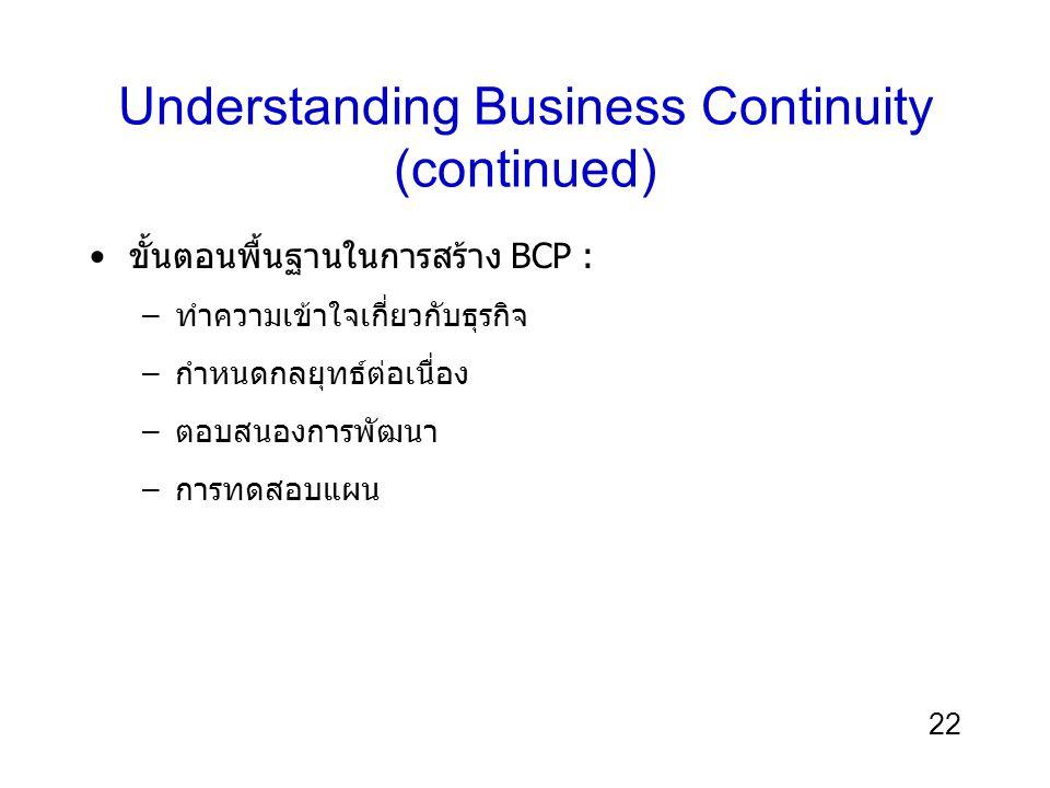 22 Understanding Business Continuity (continued) ขั้นตอนพื้นฐานในการสร้าง BCP : –ทำความเข้าใจเกี่ยวกับธุรกิจ –กำหนดกลยุทธ์ต่อเนื่อง –ตอบสนองการพัฒนา –